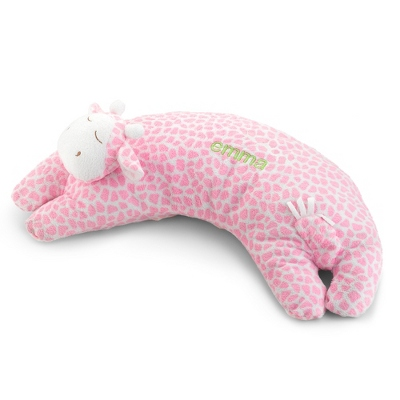 Pink Giraffe Curved Pillow