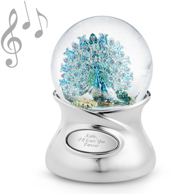 Shimmering Brilliance Peacock Musical Snow Globe