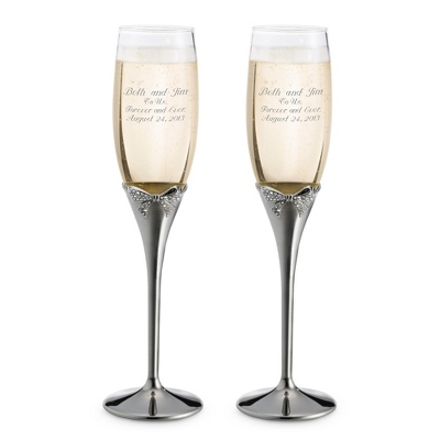Midnight Chrome Bow Toasting Flutes - Flutes & Servers
