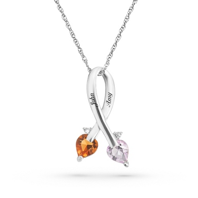 Sterling Couples Diamond Ribbon Necklace with complimentary Filigree Keepsake Box - Sterling Silver Necklaces