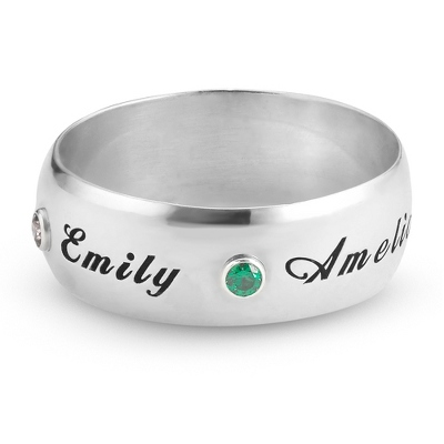 Sterling 7mm Wide Band Family Birthstone Ring- 2 stone with complimentary Filigree Keepsake Box