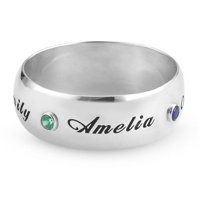 Sterling 7mm Wide Band Family Birthstone Ring- 4 stone with complimentary Filigree Keepsake Box - Sterling Silver Family Birthstone Jewelry