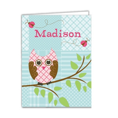 Quilted Owl Set of 2 Folders - Gifts for Girls