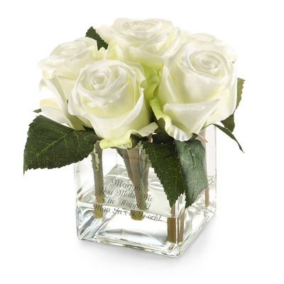 White Rose Petite Flower Arrangement - Vases & Floral Arrangements