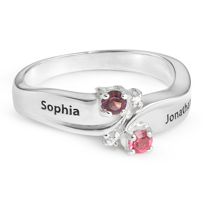 Sterling His & Hers Birthstone & Diamond Accent Ring with complimentary Filigree Keepsake Box