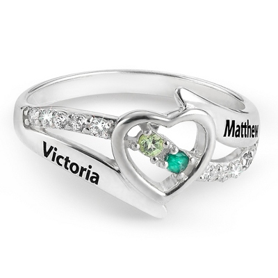 Sterling Open Heart Couples Birthstone Ring with complimentary Filigree Keepsake Box - $80.00