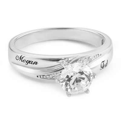 Platinum Plated Sterling Silver CZ Ring with complimentary Filigree Keepsake Box - Sterling Silver Women's Jewelry