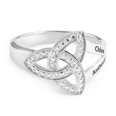 Sterling Diamond Trinity Knot Couple's Ring with complimentary Filigree Keepsake Box