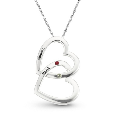 Sterling Silver Double Hearts Birthstone Pendant with complimentary Filigree Keepsake Box