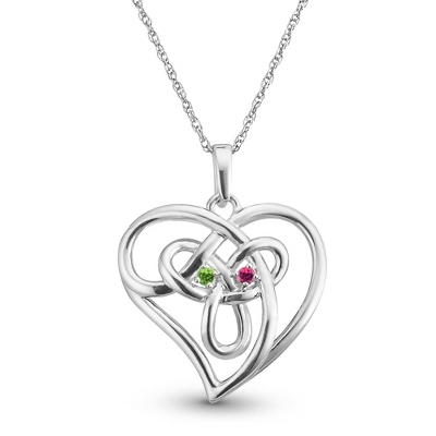 Sterling Silver Birthstone Celtic Heart Love Knot Pendant with complimentary Filigree Keepsake Box