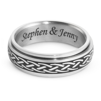 Stainless Steel Celtic Knot Spinner Wedding Band with complimentary Weave Texture Valet Box