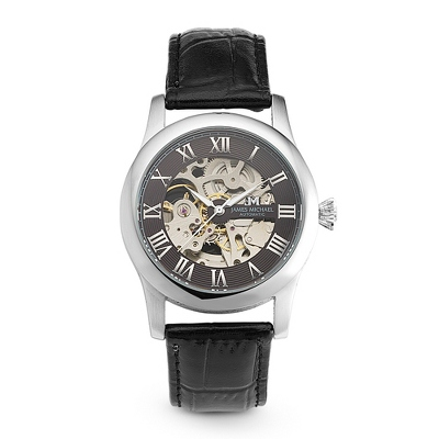 Men's Leather Skeleton Watch - Men's Jewelry