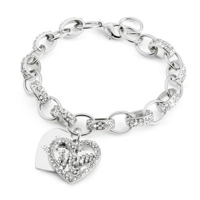 Mom Heart Bracelet with complimentary Filigree Keepsake Box