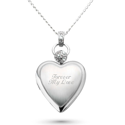 Platinum over Sterling Heart Locket with Diamond Accents with complimentary Filigree Keepsake Box - Bridal Jewelry