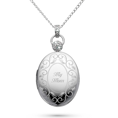 Platinum over Sterling Oval Locket with Diamond Accents with complimentary Filigree Keepsake Box - Bridal Jewelry