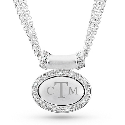Bling Oval Slide Necklace with complimentary Filigree Keepsake Box