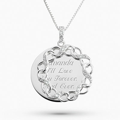 Sterling Silver Infinity Swing Pendant with complimentary Filigree Keepsake Box