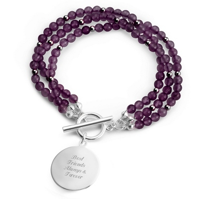 Amethyst Triple Strand Bracelet with complimentary Filigree Keepsake Box - Fashion Bracelets & Bangles