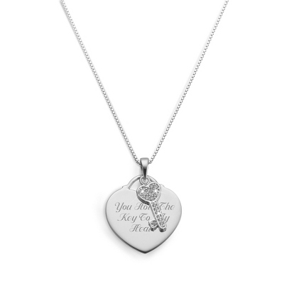Sterling Silver Key to my Heart Necklace with complimentary Filigree Keepsake Box - $39.99