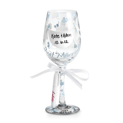 Lolita Personalize It Just Married Wine Glass