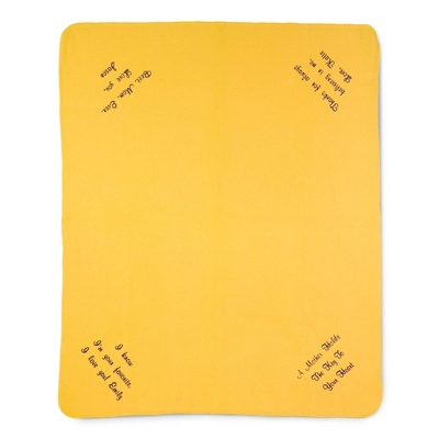 Multi Corner Bright Yellow Fleece Blanket - Throws for Her