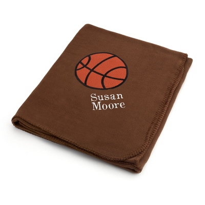 Basketball Design on Brown Fleece Blanket - Throws for Her