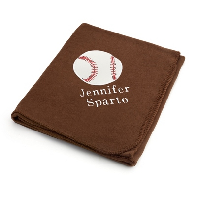 Baseball Design on Brown Fleece Blanket
