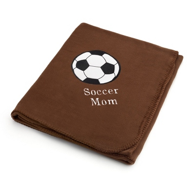 Soccer Design on Brown Fleece Blanket