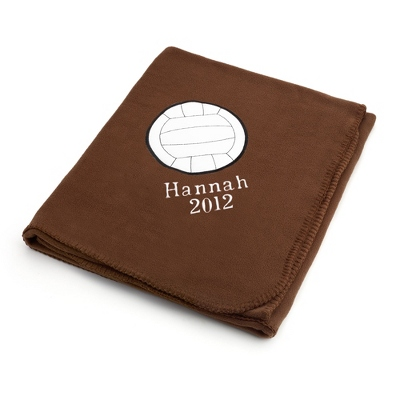 Volleyball Design on Brown Fleece Blanket