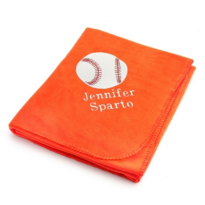 Baseball Design on Bright Orange Fleece Blanket