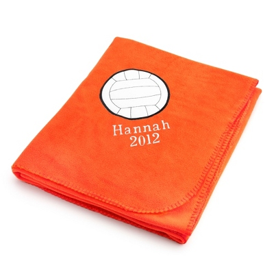 Volleyball Design on Bright Orange Fleece Blanket