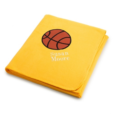 Basketball Design on Bright Yellow Fleece Blanket - Throws for Her