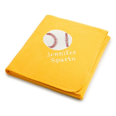 Baseball Design on Bright Yellow Fleece Blanket