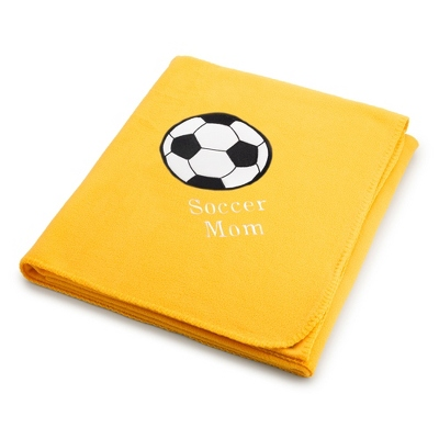 Soccer Design on Bright Yellow Fleece Blanket