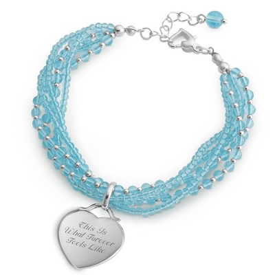 Blue 5 Strand Bracelet with complimentary Filigree Keepsake Box