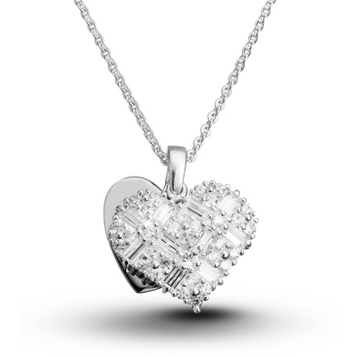 Heart Baguette Necklace with complimentary Filigree Keepsake Box - Fashion Necklaces