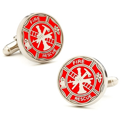 Firemens Shield Cuff Links with complimentary Weave Texture Valet Box - Men's Jewelry