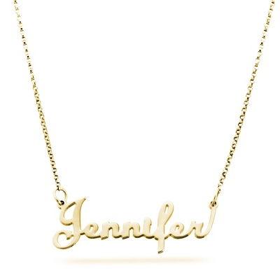 18K Gold over Sterling Script Name Necklace with complimentary Filigree Keepsake Box - Sterling Silver Necklaces