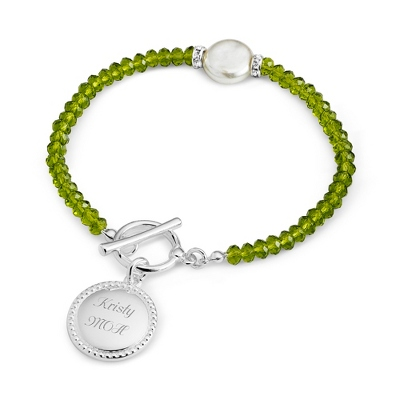 Green Coin Pearl Bracelet with complimentary Filigree Keepsake Box - Fashion Bracelets & Bangles