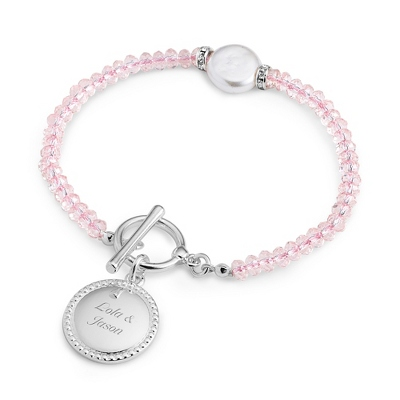 Pink Coin Pearl Bracelet with complimentary Filigree Keepsake Box