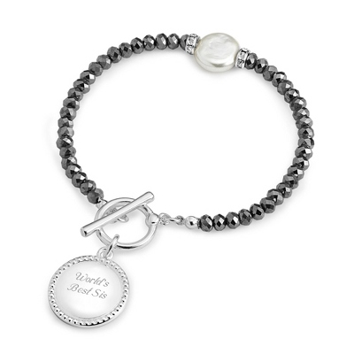 Hematite Coin Pearl Bracelet with complimentary Filigree Keepsake Box