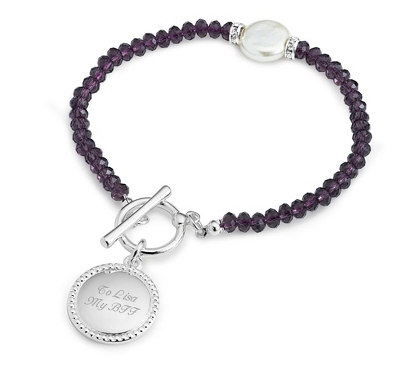 Purple Coin Pearl Bracelet with complimentary Filigree Keepsake Box