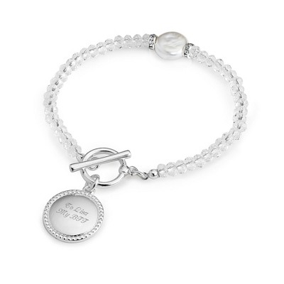 Clear Coin Pearl Bracelet with complimentary Filigree Keepsake Box - Fashion Bracelets & Bangles