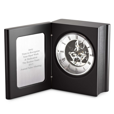 Black Skeleton Book Clock