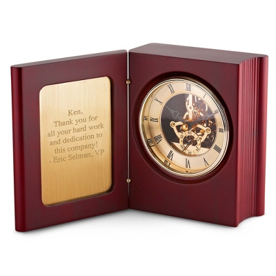 Mahogany Skeleton Book Clock - $49.99