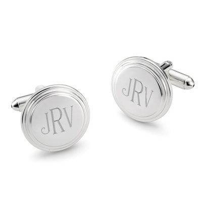 Engraved Round Step Cuff Links with complimentary Tri Tone Valet Box