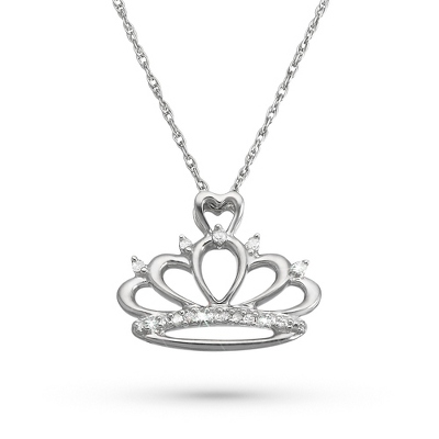 Girl's Sterling Diamond Accent Tiara Necklace with complimentary Filigree Heart Box