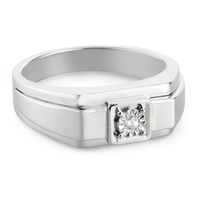 Men's Sterling Diamond Wedding Ring- Size 11 with complimentary Tri Tone Valet Box - UPC 825008318205