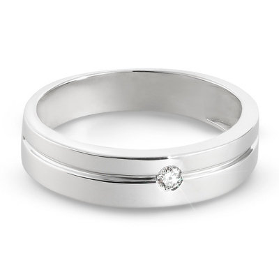 Men's Sterling Diamond Wedding Band- Size 9 with complimentary Tri Tone Valet Box