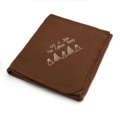 Holiday Tan Snowman Brown Fleece Blanket - $25.99